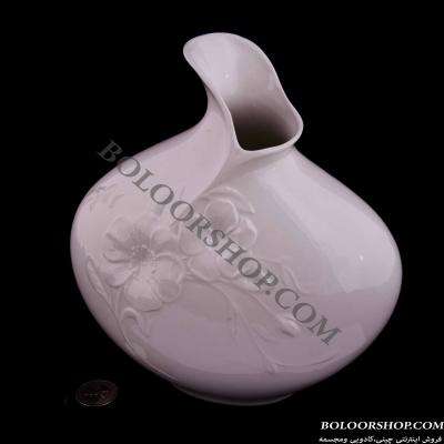 گلدان چینی لمونژ سفید کتابي بنفشه کد 117