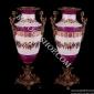 چینی آنتیک 489 R گلدان بلند دسته برنزي