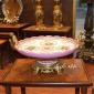شیرینی خوری چینی برنزی تخت پایه دار گلدار صورتی کد 51c407