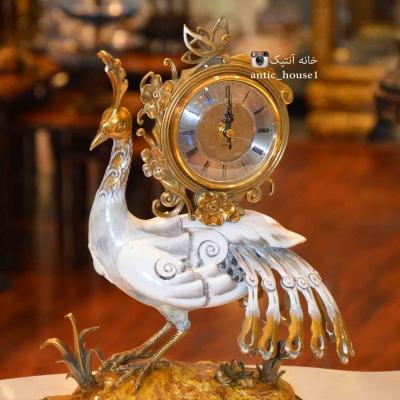 چینی برنزی آنتیک ساعت روميزي طاووس کد 51140