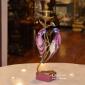 چینی برنزی رستیک شمعدان2پرنده صورتي پايه قلبي کد 51156