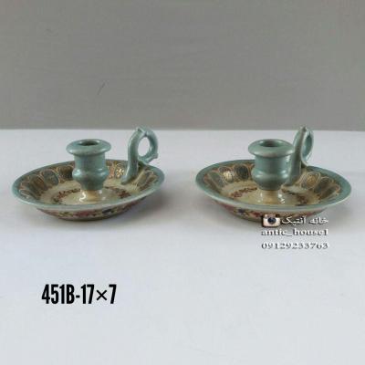 شمعدان چینی آنتیک یکدسته جفت کد 451 B