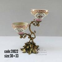 شمعدان چینی برنزی دوشاخه پروانه گلدار صورتی کد 31022