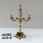 شمعدان چینی برنزی سه شاخه پایه گلدار صورتی (یک عدد) کد 31032