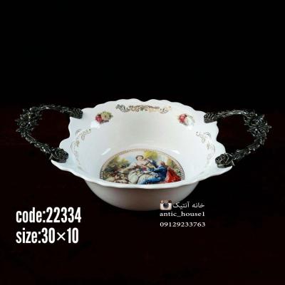 کاسه چینی گرد کوچک دومینو رنگی گلدار کد 22334