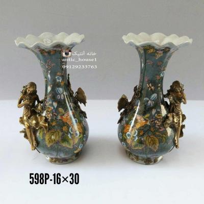 گلدان چینی برنزی کمرباريک زن و پروانه کد 598 P